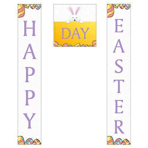 Happy Easter Day 11 Oz Heavy Duty Polyester Fabric Hanging Banner Porch Sign for Outdoor Indoor Home Party Events Office Decorations with Top & Bottom Pole Pockets with Nylon Rope -
