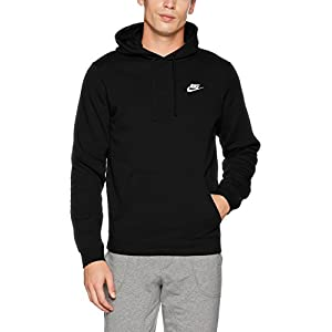Nike Mens Sportswear Pull Over Club Hooded Sweatshirt - Large - Black/White