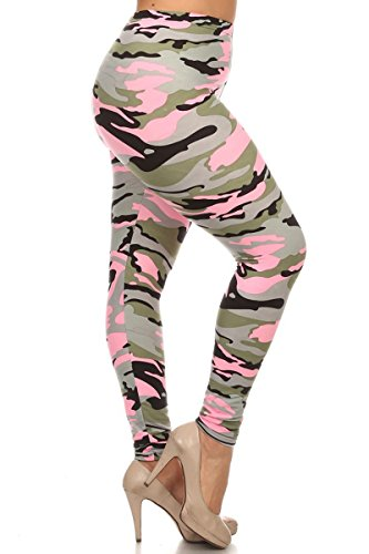 Leggings Depot NEW ARRIVALS Women's Popular BEST Printed Plus Fashion Leggings Batch3 (Blush Hue Camouflage)