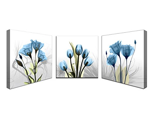 Moyedecor Art - 3 Panel Elegant Tulip Flower Canvas Print Wall Art Painting For Living Room Decor And Modern Home Decorations (Three 16x16in, Blue flower prints framed)
