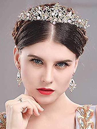 Edary Pink rhinestones Wedding Tiara Alaina Bridal flower Crown Vintage Headpiece ()