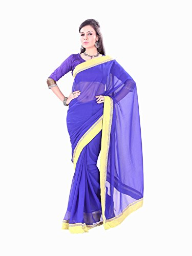 Florence Blue Chiffon Embroidered Saree
