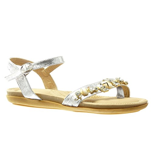 Angkorly - Chaussure Mode Sandale Tong femme bijoux strass diamant Talon plat 2 CM - Argent
