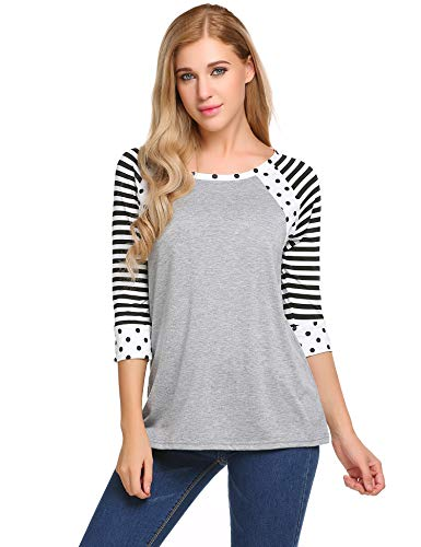 SoTeer Women Black and White Striped 3/4 Sleeve T-Shirt Tops Slim Fit Stripes Tee (Gray, L)
