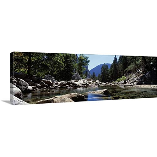 GREATBIGCANVAS Gallery-Wrapped Canvas Entitled Mountain Behind Pine Trees, Tenaya Creek, Yosemite National Park, California by 60