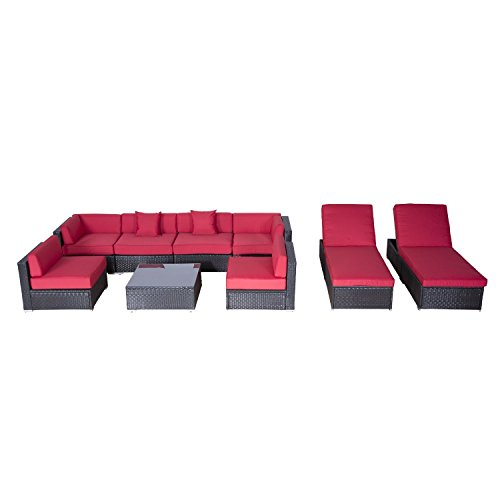 Outsunny 9pc Outdoor Patio Rattan Wicker Sofa Sectional & Chaise Lounge Furniture Set - Crimson (Outdoor Furniture Lounge Sets)