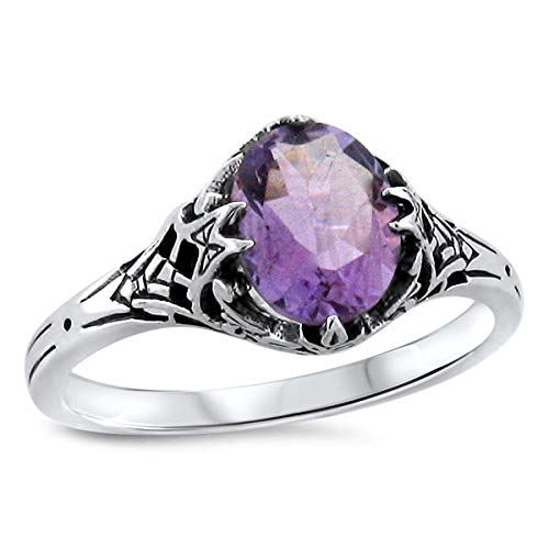 Genuine Amethyst Antique Art Deco Style .925 Silver Filigree Ring Size 10 KN-1801