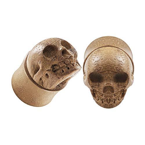 - BIG GAUGES Pair of Teak Wood 5/8 Inch Gauge 16mm Hand Carved Skull Double Flared Piercing Ear Flesh Plugs Stretcher Earring Lobe BG5425