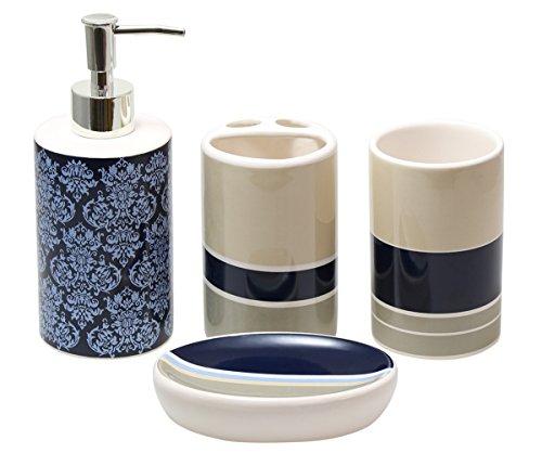 Justnile modern 4 piece ceramic bathroom accessory set for Blue bath accessories set