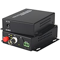 Guantai 1080P HD CVI AHD TVI 1 Channel Video Fiber Optical Media Converters, FC, Singlemode 20Km- For 1080p 960p 720p AHD CVI TVI HD CCTV
