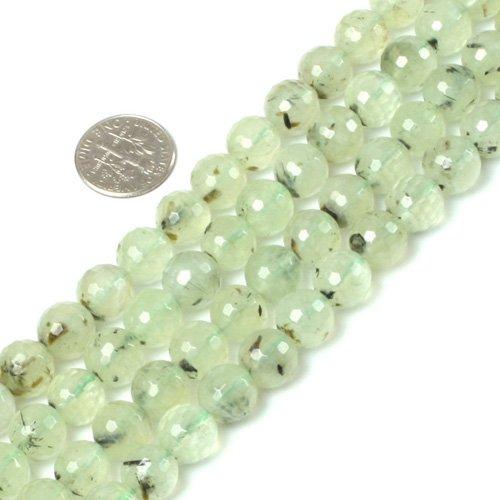 10mm Round Faceted Gemstone Prehnite Beads Strand 15 Inch