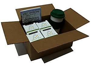 Quit Tea Starter Kit: 4 Boxes of Quit Tea with Tumbler & Book Quit Smoking With Herbal Tea