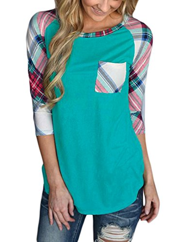 Green Ladies T-shirt Raglan (Podlily Women's Plaid Raglan Casual Striped Blouses 3/4 Sleeve Pocket T Shirt Large Green)