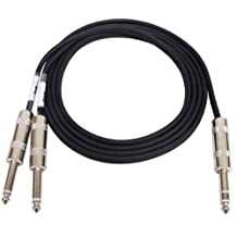 GLS Audio 6 feet (1.82 meters) Y-Cable Cable Cords - Full Metal 6ft 1/4-Inch TRS Stereo to Dual 1/4-Inch TS Mono Black Cord - Send and Return Insert Cables - Y Cable Splitter - SINGLE