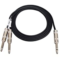 GLS Audio 6ft Y-Cable Cable Cords - Full Metal 1/4 TRS Stereo to Dual 1/4 TS Mono Black Cord - 6 Send and Return Insert Cables - Y Cable Splitter - SINGLE