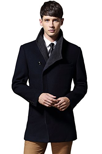 Men's Australian Merino Wool Blend Coat Single Breasted Trench Coat Winter Jacket for Men