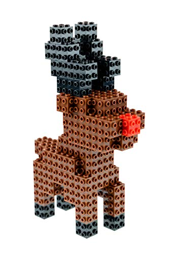 Strictly Briks - Building Bricks and Blocks Set - 3D Briks Christmas Red-Nose Reindeer - 100% Compatible with All Major Brick Brands - 94 Pieces