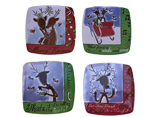 Christmas Melamine Plate Set of 4 - Reindeer Story