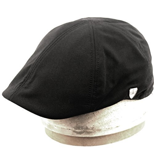 Men's 6 Panel Linen Duckbill Ivy Hat (L/XL, BLACK) (Duckbill Cap)