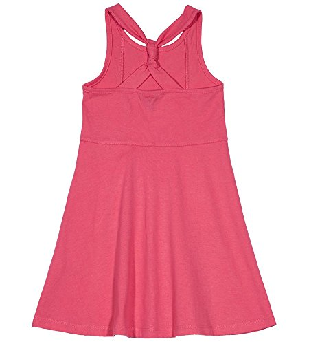 Pink Patterned - Nautica Girls' Little Patterned Sleeveless Dress, Bright Pink lace, 5