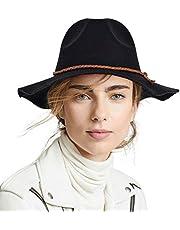 FADACHY Fedora Hats for Women Men Vintage Wool Felt Wide Brim Belt Fedora Floppy Cowboy Panama Hat