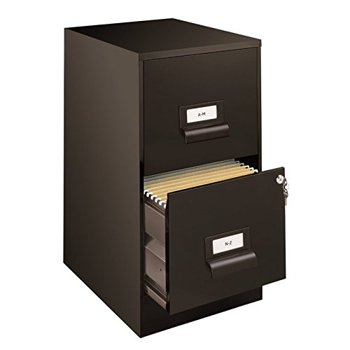 Office Dimensions 18'' Deep 2 Drawer Premier Height File Cabinet, Black (21644) by Space Solutions