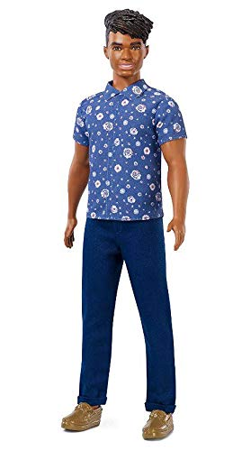 Boneco Ken Fashionistas - 114 Blusa Florais Azul Cabelo Preto