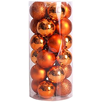 finalz shatterproof shiny and polshed glossy christmas tree ball ornaments decorations pack of 24 orange - Orange Coloured Christmas Tree Decorations