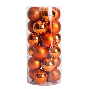 FinalZ Shatterproof Shiny and Polshed Glossy Christmas Tree Ball Ornaments Decorations Pack of 24 (Orange, 1.5'')