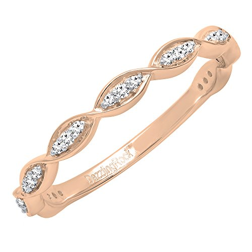 (Dazzlingrock Collection 0.15 Carat (ctw) 10K Round Diamond Ladies Twisted Swirl Style Wedding Band, Rose Gold, Size 9)