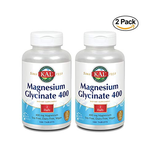 KAL Magnesium Glycinate 400 | Vegan, Chelated, Non-GMO, Soy, Dairy, and Gluten Free 180 tablets | 2-Pack