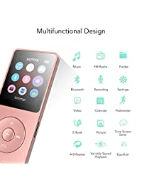 AGPTEK   Reproductor de MP3 (8 GB, Bluetooth 4.0, reproductor de música con radio FM, grabadora de voz, ampliable hasta 128 GB)