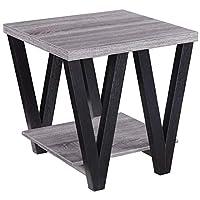 Coaster Home Furnishings Angled Leg End Table, Black/Grey