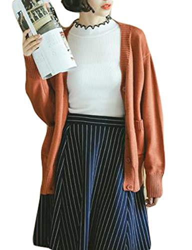 Gergeousカーディガン レディース 長袖 ニットカーディガン ゆったり 無地 秋 アウター ニットセーター 韓国ファッション