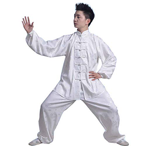 Taiji Boxing Clothing Chinese Kung Fu Costume Silks Satin Dragon Chinese Traditional Wushu Performance Suit Ancient Taoist Costume (White, Asia M fits Waist ()