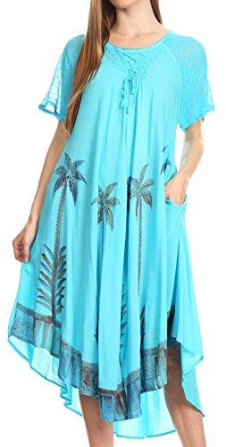 Sakkas 14610New - Kai Palm Tree Caftan Tank Dress/Cover Up - Turquoise - One Size Regular