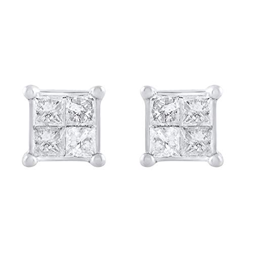 10k White Gold Princess Diamond Square Cluster Stud Earrings (0.38 cttw, H-I Color, I2-I3 Clarity)