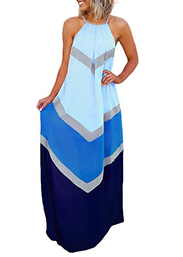 Joyfunear Women's Chiffon Halter Striped Color Patchwork Pleated Back Hollow Out Maxi Long Dresses Blue -