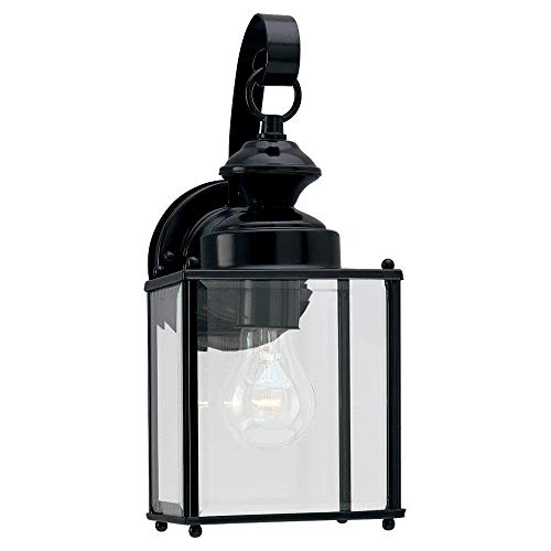(Sea Gull Lighting 8457-12 Single-Light Jamestowne Outdoor Wall Lantern with Clear Beveled Glass, Black)