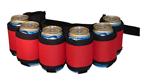 Insulated Tailgate - BEERBONG .COM Beer Belt Insulated with Inside Money Holder Zipper Pocket Plus Extra Pocket for Phone or Smokes Quality Made! (6 Colors to Choose from) (Red)
