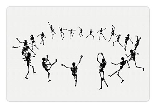 Lunarable Dance Pet Mat for Food and Water, Skeleton Silhouettes Dancing in a Ring Happy Halloween Holiday Themed Monochrome, Rectangle Non-Slip Rubber Mat for Dogs and Cats, Black White -