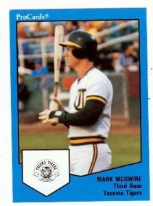 Mark McGwire baseball card 1989 Pro Cards Tacoma Tigers #1537 (Oakland Athletics)