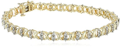 10k Yellow Gold Diamond Bracelet (2 cttw) by Amazon Collection