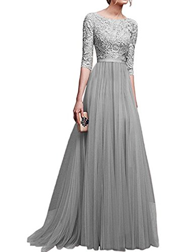 Brautjungfernkleid Lange Abendkleider Damen Arm Grau Elegant 4 KAIDUN 3 vPFn0Y