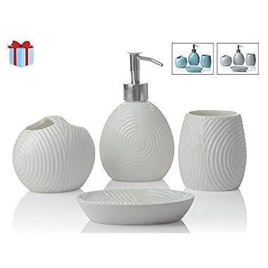 Designer 4-Piece Ceramic Bath Accessory Set | Includes Liquid Soap or Lotion Dispenser w/ Premium Metal Pump, Toothbrush Holder, Tumbler, Soap Dish | Zen Garden | Alpine White