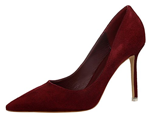 T&Mates Womens Fashion Pointed Toe Pumps High Heel Stilettos Versatile Slip On Suede Dress Shoes (7.5 B(M) - Oxford Valley Hours