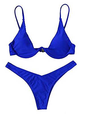 Verdusa Women's Sexy Triangle Bathing Two Pieces Swimsuit Bikini Set