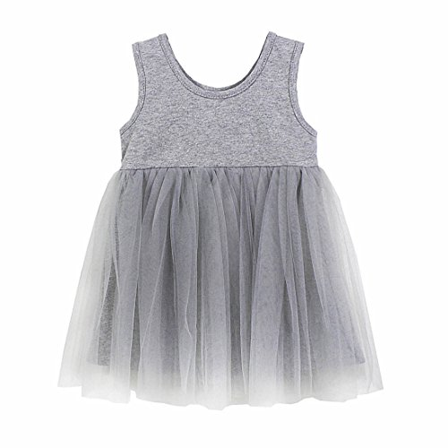 Peony Baby Baby Girls Black Dress Tutu Sundress Tulle Skirt Cotton 4 Colors (2-3Year, Grey) (Peony Tutu)