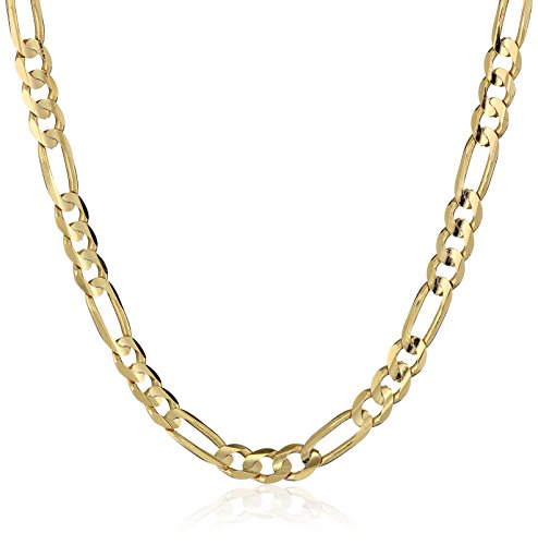 Men's 10k Yellow Gold 3.15mm Italian Figaro Chain Necklace, 20'' by Amazon Collection