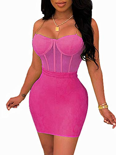 Womens Sexy Two Piece Outfits Sleeveless Mesh See Through Mini Skirt Set Clubwear S Rose